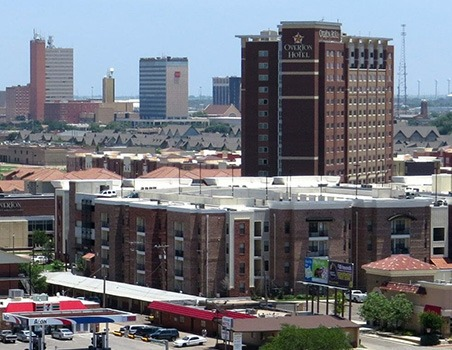 overhead shot of downtown lubbock texas